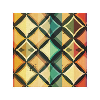 Retro,fall leaf colors,vintage,trendy,pattern,cube stretched canvas print