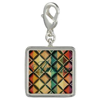 Retro,fall leaf colors,vintage,trendy,pattern,cube photo charm