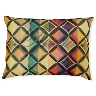 Retro,fall leaf colors,vintage,trendy,pattern,cube large dog bed