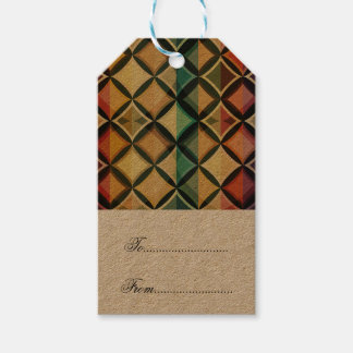 Retro,fall leaf colors,vintage,trendy,pattern,cube pack of gift tags
