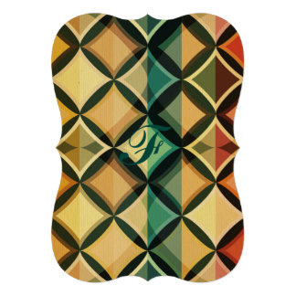 "Retro,fall leaf colors,vintage,trendy,pattern,cube 5"" x 7"" invitation card"