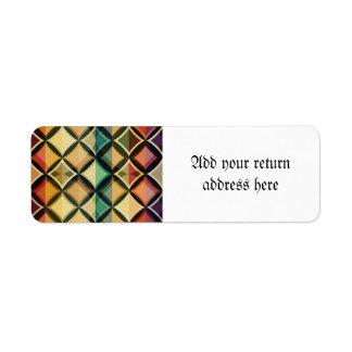 Retro,fall leaf colors,vintage,trendy,pattern,cube return address label