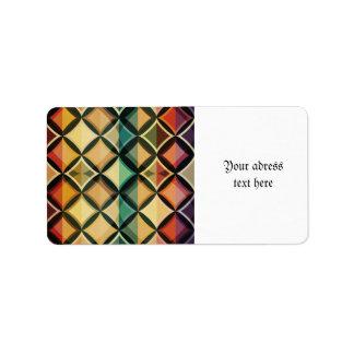 Retro,fall leaf colors,vintage,trendy,pattern,cube address label