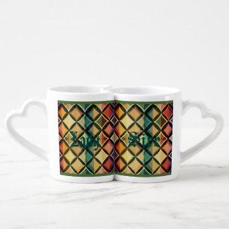 Retro,fall leaf colors,vintage,trendy,pattern,cube couples' coffee mug set