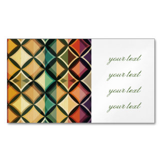 Retro,fall leaf colors,vintage,trendy,pattern,cube magnetic business cards