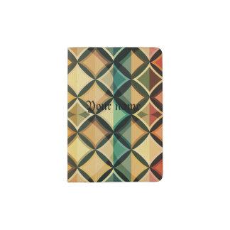 Retro,fall leaf colors,vintage,trendy,pattern,cube passport holder