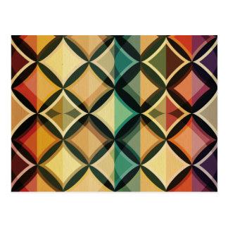 Retro,fall leaf colors,vintage,trendy,pattern,cube postcard