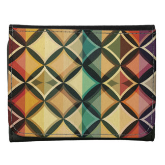 Retro,fall leaf colors,vintage,trendy,pattern,cube leather tri-fold wallet
