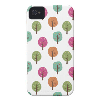 Retro Fall Trees Pattern iPhone 4 Cases