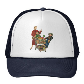 Retro Family, Mom and Kids, Cart Grocery Shopping Cap