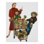 Retro Family, Mum and Kids, Cart Grocery Shopping