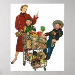 Retro Family, Mum and Kids, Cart Grocery Shopping