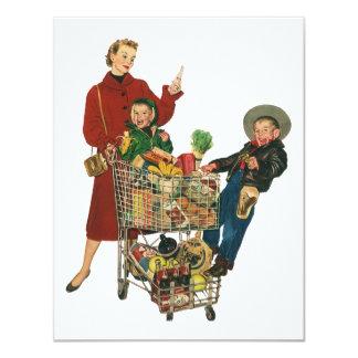 Retro Family, Mum and Kids, Cart Grocery Shopping 11 Cm X 14 Cm Invitation Card
