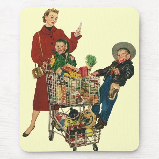Retro Family, Mum and Kids, Cart Grocery Shopping Mouse Pad