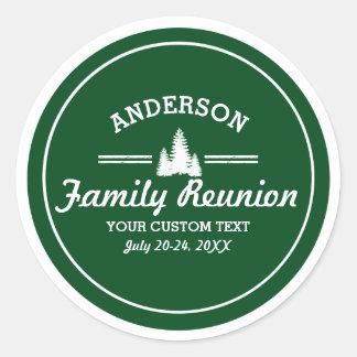 Retro Family Reunion or Trip | Rustic Pine Trees Round Sticker