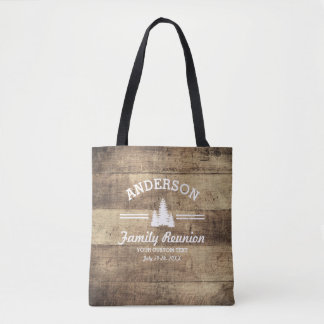 Retro Family Reunion or Trip | Rustic Pine Trees Tote Bag