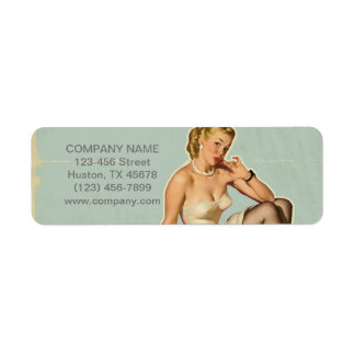 Retro Fashion Girl Hair Stylist Makeup Artist Return Address Label