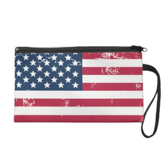 Retro Fashion Grunge American Flag Old Look Wristlet Purse
