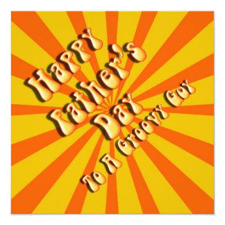 Retro Father's Day For a Groovy Guy (Orange/Gold) 13 Cm X 13 Cm Square Invitation Card