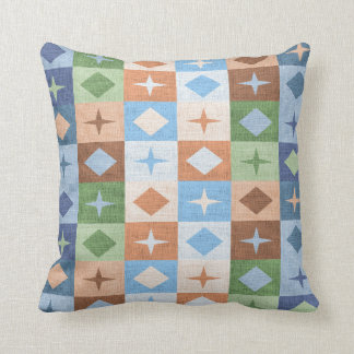 Retro Faux Burlap Colourful Pattern Blocks Cushion