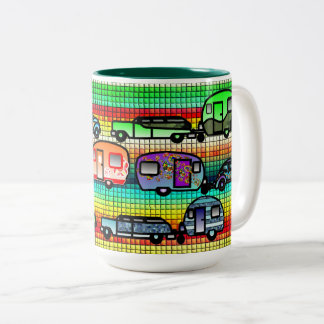 Retro Faux Ceramic Tile Caravans Coffee Cup