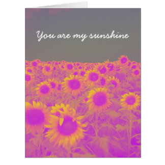 Retro field of sunflowers card