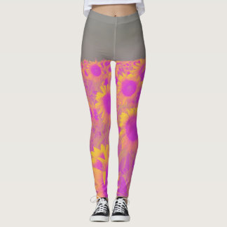 Retro field of sunflowers leggings
