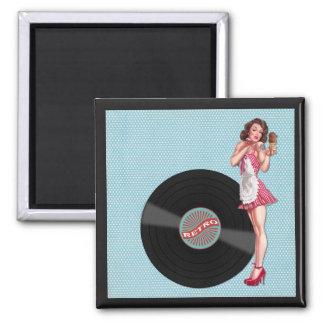 Retro Fifties Lady Art Collage, Ice Cream, Kiss Magnet
