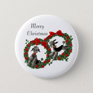 Retro Fifties Poodles in Christmas Wreaths 6 Cm Round Badge