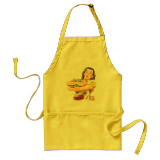 Retro fifties woman, canned vegetables standard apron