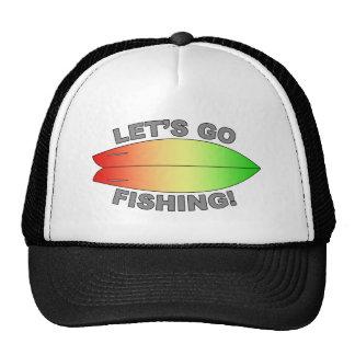 Retro Fish Surfboard Design Mesh Hat