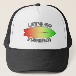 Retro Fish Surfboard Design Trucker Hat