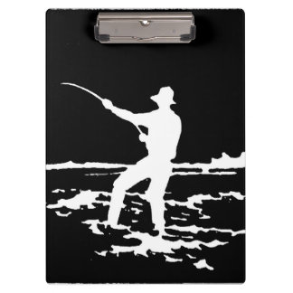 Retro Fisherman Silhouette Clipboard