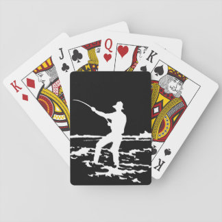 Retro Fisherman Silhouette Playing Cards