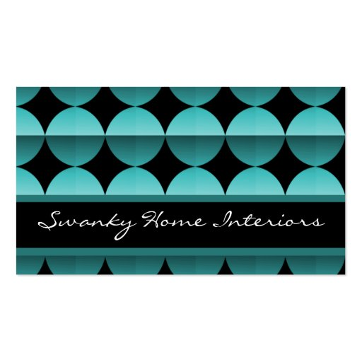 Retro Flair Business Card, Electric Teal