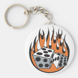 retro flaming dice design basic round button key ring