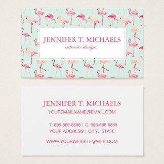 Retro Flamingo Pattern   Monogram Business Card