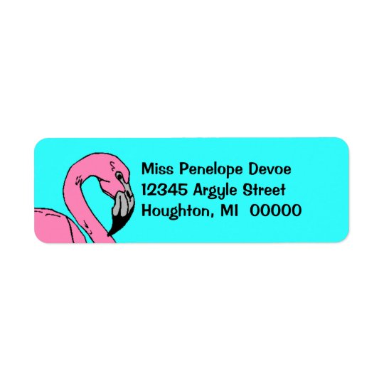 Retro Flamingo Pink Turquoise Return Address Label