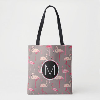 Retro Flamingos | Monogram Tote Bag