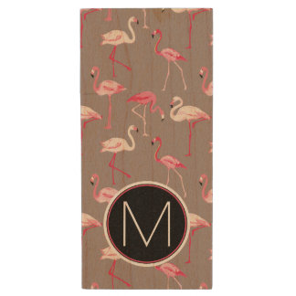 Retro Flamingos | Monogram Wood USB 2.0 Flash Drive
