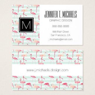 Retro Flamingos On Mint Stripes Business Card