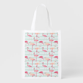 Retro Flamingos On Mint Stripes Reusable Grocery Bag