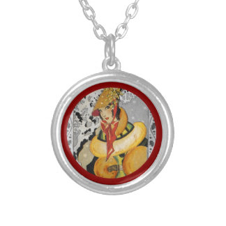 Retro Flapper Christmas Greeting Silver Plated Necklace