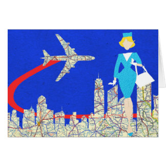 Retro Flight Attendant Greeting Card
