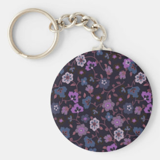 retro floral 1 basic round button key ring