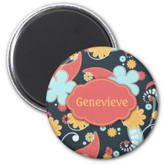 Retro Floral - Add a name - Magnet