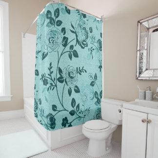 Retro_Floral (c) Turquoise_Everyday_Unisex Shower Curtain