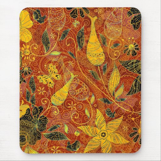 Retro Floral Collage-Yellow & Red Mousepad