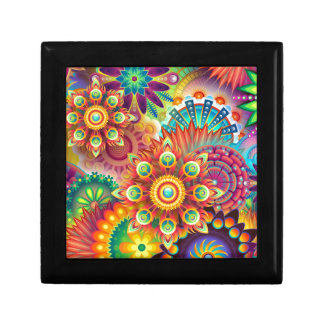 Retro Floral Colors Abstract Small Square Gift Box