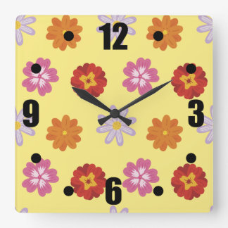 Retro Floral Daisy Pattern on Yellow Square Wall Clock